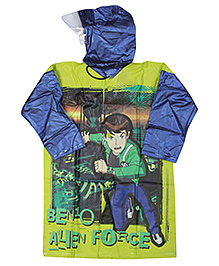 Ben 10 Full Sleeves Hooded Raincoat - Light Green