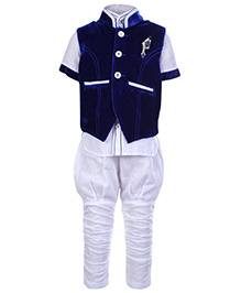 Babyhug 3 Piece Party Wear Suit - Royal Blue And White