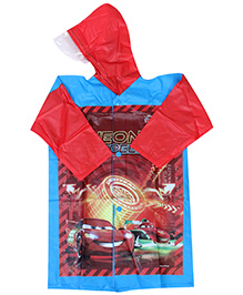 Disney Hooded Raincoat With Car Print - Red and Blue