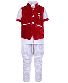 Babyhug 3 Piece Party Wear Suit - Red And White