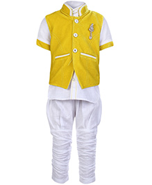 Babyhug 3 Piece Party Wear Suit - Yellow And White