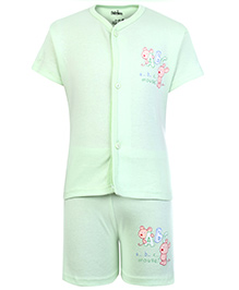 Babyhug Half Sleeves Front Open Night Suit