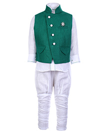 Babyhug 3 Piece Party Wear Set - White And Green