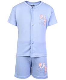 Babyhug Half Sleeves T-Shirt And Shorts with Mouse and Alphabet Print - Blue