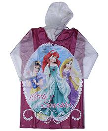 Disney Princess Full Sleeves Hooded Raincoat - Light Blue