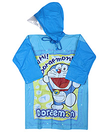 Doraemon Full Sleeves Hooded Raincoat - Blue