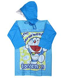 Doraemon Full Sleeves Hooded Raincoat - Blue