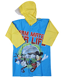 Mickey Mouse And Friends Full Sleeves Hooded Raincoat - Dark Blue