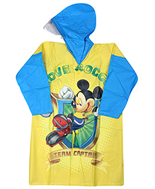 Mickey Mouse And Friends Full Sleeves Hooded Raincoat - Yellow