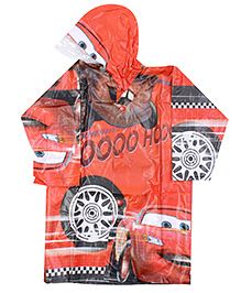 Disney Pixar Cars Full Sleeves Hooded Raincoat - Red