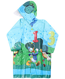Mickey Mouse And Friends Full Sleeves Hooded Raincoat - Blue And Green