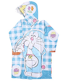 Doraemon Full Sleeves Hooded Raincoat - Sky Blue