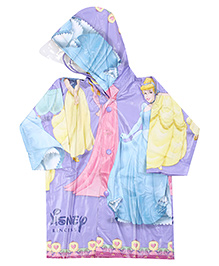 Disney Princess Full Sleeves Hooded Raincoat - Purple
