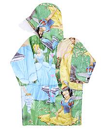 Disney Princess Full Sleeves Hooded Raincoat - Green And Blue