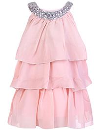 Babyhug Sleeveless Layered Frock With Scoop Neck Embellishment - Peach