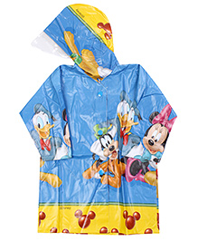 Mickey Mouse And Friends Full Sleeves Hooded Raincoat - Yellow And Blue