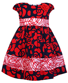 Babyhug Cap Sleeves Flower Printed Frock