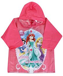 Disney Princess Full Sleeves Hooded Toddler Raincoat Princess Print - Pink
