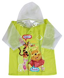 Disney Full Sleeves Hooded Toddler Raincoat Winnie the Pooh Print - Green