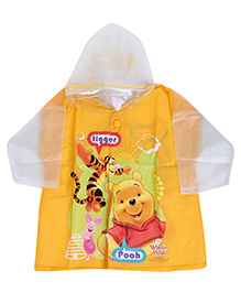 Disney Full Sleeves Hooded Toddler Raincoat Winnie the Pooh Print - Yellow
