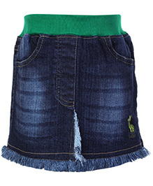Babyhug Denim Skirt with Elasticated Waist - Dark Blue