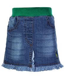 Babyhug Denim Skirt with Elasticated Waist - Light Blue