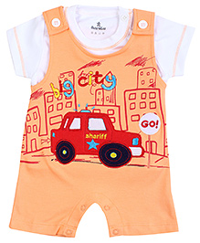 Child World Dungaree Style Romper With T-Shirt - Car Print