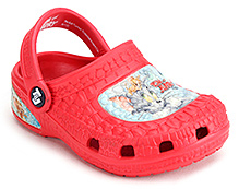 Tom and Jerry Shoes Clogs with Tom and Jerry Print  - Red