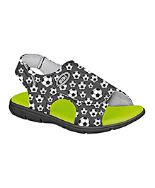 Elefantastik Canvas Sandals With Football Print - Black and Green