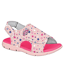 Elefantastik Sandals With Star Print and Velcro Closure - Pink