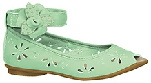 Elefantastik Ballerina Floral Embossed Party Wear  - Green