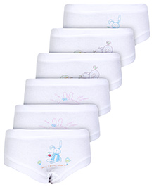 Zero Multi Print Panties White - Set of 6