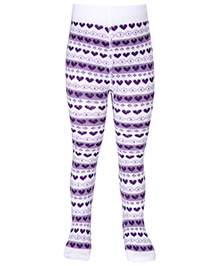 Mustang Heart Print Footed Tights - Purple