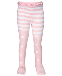 Mustang Stripes And Teddy Print Footed Tights - Light Pink
