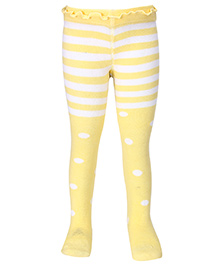 Mustang Stripes And Teddy Print Footed Tights - Lemon Yellow