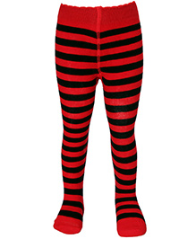 Mustang Stripes And Honey Bee Print Footed Tights - Red