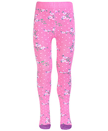 Mustang Footed Tights Flower Print - Pink