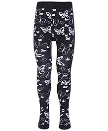 Mustang Footed Tights Butterfly Print - Black