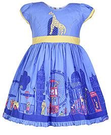 Babyhug Cap Sleeves Printed Frock - Blue