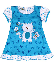 Babyhug Short Sleeves Frock Blue - Print And Embroidery