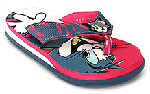 Tom and Jerry Flip Flop with Tom and Jerry Print - Red and Grey