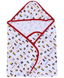 Mee Mee Hooded Wrapper WT Car Print Blanket - Red