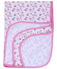 Mee Mee Hooded Wrapper Bird Printt - White And Pink