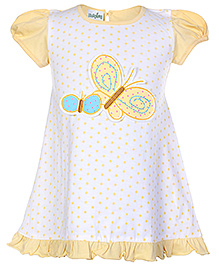 Babyhug Cap Sleeves Frock Yellow - Polka Dot Print And Butterfly Applique