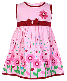 Babyhug Sleeveless Frock With Flower Print At The Border Pink