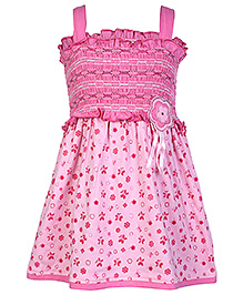 Babyhug Singlet Frock Butterfly Print With Smoked Pattern - Pink