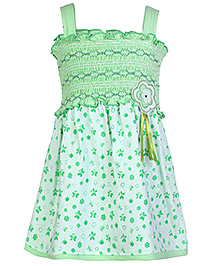 Babyhug Singlet Frock Butterfly Print With Smoked Pattern - Green