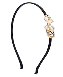 Fab N Funky Hair Band Flower Design - Black And Golden