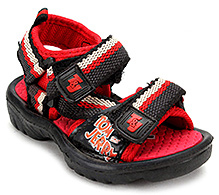 Tom and Jerry Sandals with Dual Velcro Strap - Red and Black