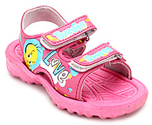Tweety Flip Flop with Dual Velcro Strap - Pink